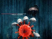 Hacker and computer virus - concept. Data security Stock Photo
