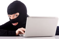 Hacker with computer Stock Photography