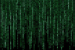 Hacker concept. computer character codes. Green text on black background stock image