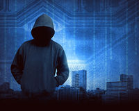 Hacker Concept. Man in hoodie shirt is hacker. Computer security concept Royalty Free Stock Photo