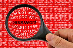 Password observed with a magnifying glass stock photos