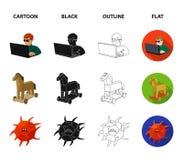 Hacker, cortando, sistema, Internet Hacker e corte de ícones ajustados da coleção nos desenhos animados, preto, esboço, vetor lis Fotos de Stock