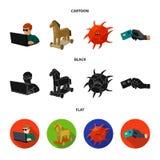 Hacker, cortando, sistema, Internet Hacker e corte de ícones ajustados da coleção nos desenhos animados, preto, símbolo liso do v Imagens de Stock