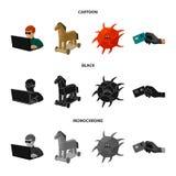 Hacker, cortando, sistema, Internet Hacker e corte de ícones ajustados da coleção nos desenhos animados, preto, vetor monocromáti Foto de Stock Royalty Free