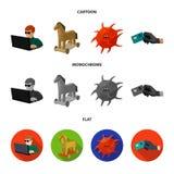 Hacker, cortando, sistema, Internet Hacker e corte de ícones ajustados da coleção nos desenhos animados, vetor liso, monocromátic Fotografia de Stock Royalty Free