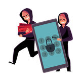 Hacker cracking smartphone, breaking pin code, stealing credit card money Royalty Free Stock Photography