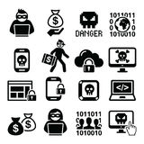Hacker, cyber attack, cyber crime icons set royalty free illustration