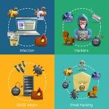 Hacker Cyber Attack Icons Concept Stock Photos