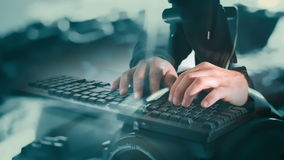 Hacker cyber crime attack. Computer hacker typing on keyboard and abstract motion background stock video