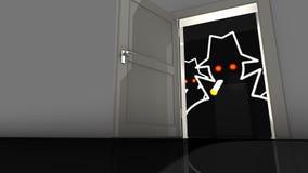 Hacker in the dark behind a backdoor Stock Images