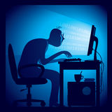 Hacker. A hacker in a dark room sitting in front of a computer screen.  Eps8 CMYK Organized by layers. Global colors. Gradients used Royalty Free Stock Images