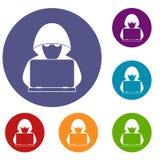 Hacker de computador com os ícones do portátil ajustados ilustração stock