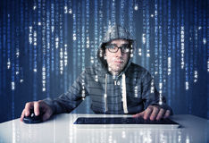 Hacker decoding information from futuristic network technology Stock Photo