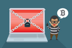 Hacker demand Bitcoin payments to restore computer systems. Illustration about Wanna Cry Ransomware Virus Stock Image