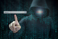Hacker, der Adware verwendet, um Suchmaschine zu steuern Lizenzfreie Stockfotos
