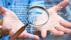 Hacker, der digitale Lupe verwendet, um Passwort 3D zu finden zu übertragen Lizenzfreie Stockfotos