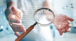 Hacker, der digitale Lupe verwendet, um Passwort 3D zu finden zu übertragen Stockfotos