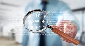 Hacker, der digitale Lupe verwendet, um Passwort 3D zu finden zu übertragen Stockbild