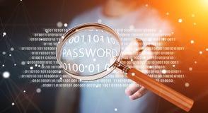 Hacker, der digitale Lupe verwendet, um Passwort 3D zu finden zu übertragen Lizenzfreies Stockfoto