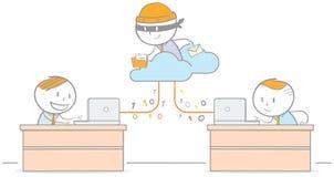 Hacker, der ein Wolken-Netz überfällt Lizenzfreie Stockfotos