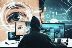 Hacking, Face ID and access concept stock photography