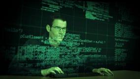 Hacker download data stock video