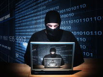 Hacker on duty Royalty Free Stock Images