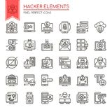 Hacker Elements. Thin Line and Pixel Perfect Icons Stock Image