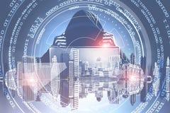 Hacker em uma cidade, em zero e em uns HUD ilustração royalty free