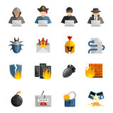 Hacker Flat Color Icons Set. Of bug firewall worm phishing  signs and broken credit card isolated vector illustration Stock Image