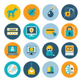 Hacker flat icons. Badges in colorful circles on a white background. Vector illustration Royalty Free Stock Photo