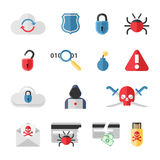Hacker flat icons set with bug virus crack worm Stock Photos