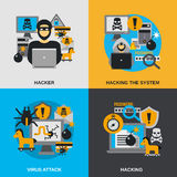 Hacker Flat Set. Hacker design concept set with virus attack flat icons  vector illustration Royalty Free Stock Images