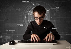 Hacker in futuristic enviroment hacking Royalty Free Stock Photography