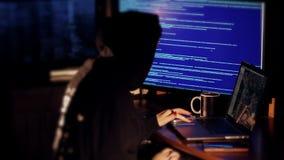A hacker girl working. Fingers Taping Keyboard Notebook Computer Laptop Technology Entrepreneurship Success Programmer Start-Up Informatics Information stock video