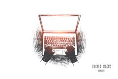 Hacker hack concept. Hand drawn isolated vector. royalty free illustration