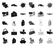Hacker and hacking black.mono icons in set collection for design. Hacker and equipment vector symbol stock web. Hacker and hacking black.mono icons in set stock illustration