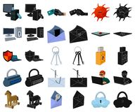 Hacker and hacking cartoon,black icons in set collection for design. Hacker and equipment vector symbol stock web. Hacker and hacking cartoon,black icons in set vector illustration