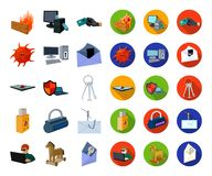 Hacker and hacking cartoon,flat icons in set collection for design. Hacker and equipment vector symbol stock web. Hacker and hacking cartoon,flat icons in set royalty free illustration