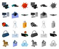 Hacker and hacking cartoon,mono icons in set collection for design. Hacker and equipment vector symbol stock web. Hacker and hacking cartoon,mono icons in set vector illustration