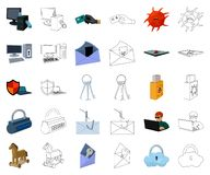 Hacker and hacking cartoon,outline icons in set collection for design. Hacker and equipment vector symbol stock web. Hacker and hacking cartoon,outline icons in vector illustration