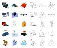 Hacker and hacking cartoon,outline icons in set collection for design. Hacker and equipment vector symbol stock web. Hacker and hacking cartoon,outline icons in stock illustration