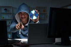 The hacker hacking computer at night Stock Photos