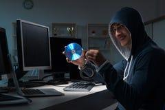 The hacker hacking computer at night Royalty Free Stock Image