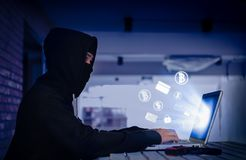 Hacker hacking decode security lock payments system with email,credit card,bitcoin and dollar currency online stock photography