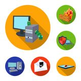 Hacker and hacking flat icons in set collection for design. Hacker and equipment vector symbol stock web illustration. Hacker and hacking flat icons in set Stock Images
