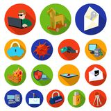 Hacker and hacking flat icons in set collection for design.. Hacker and equipment vector symbol stock  illustration Stock Image