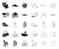 Hacker and hacking mono,outline icons in set collection for design. Hacker and equipment vector symbol stock web. Hacker and hacking mono,outline icons in set vector illustration