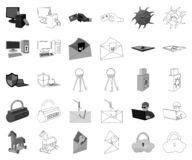 Hacker and hacking monochrome,outline icons in set collection for design. Hacker and equipment vector symbol stock web. Hacker and hacking monochrome,outline vector illustration