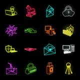 Hacker and hacking neon icons in set collection for design. Hacker and equipment vector symbol stock web illustration. Hacker and hacking neon icons in set vector illustration